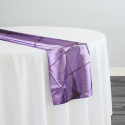 "4"" Pintuck Taffeta Table Runner in Purple 079"