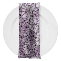 Flower Chain Lace (w/ Poly Lining) Table Napkin in Purple and Silver