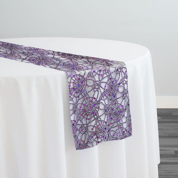 Flower Chain Lace Table Runner in Purple and Silver