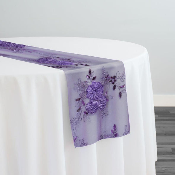 Ribbon Mesh Lace Table Runner in Purple