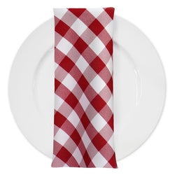 Polyester Checker (Gingham) Table Napkin in Red