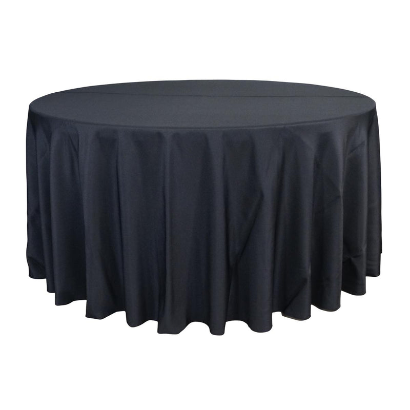 "Economy Polyester Poplin 132"" Round Tablecloth - Black"