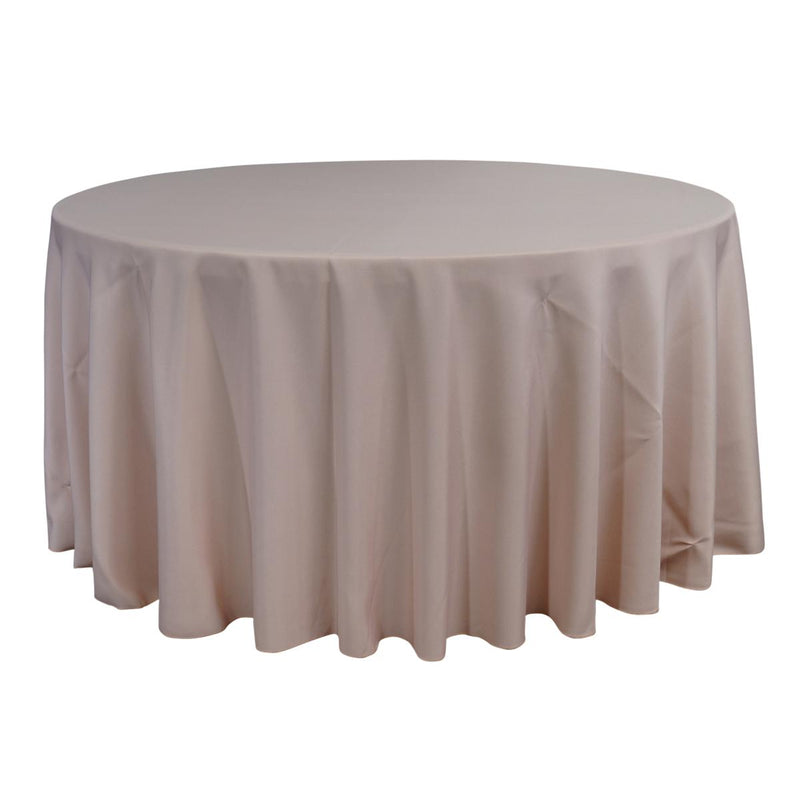 "Economy Polyester Poplin 132"" Round Tablecloth - Blush"