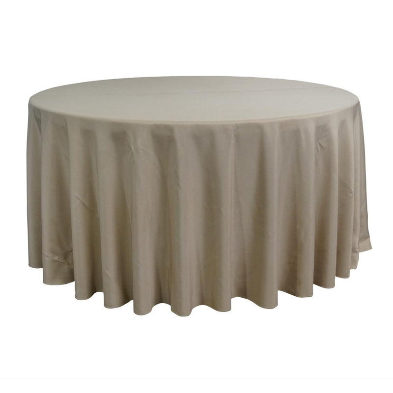 "Economy Polyester Poplin 132"" Round Tablecloth - Champagne"