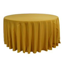 "Economy Polyester Poplin 120"" Round Tablecloth - Gold"