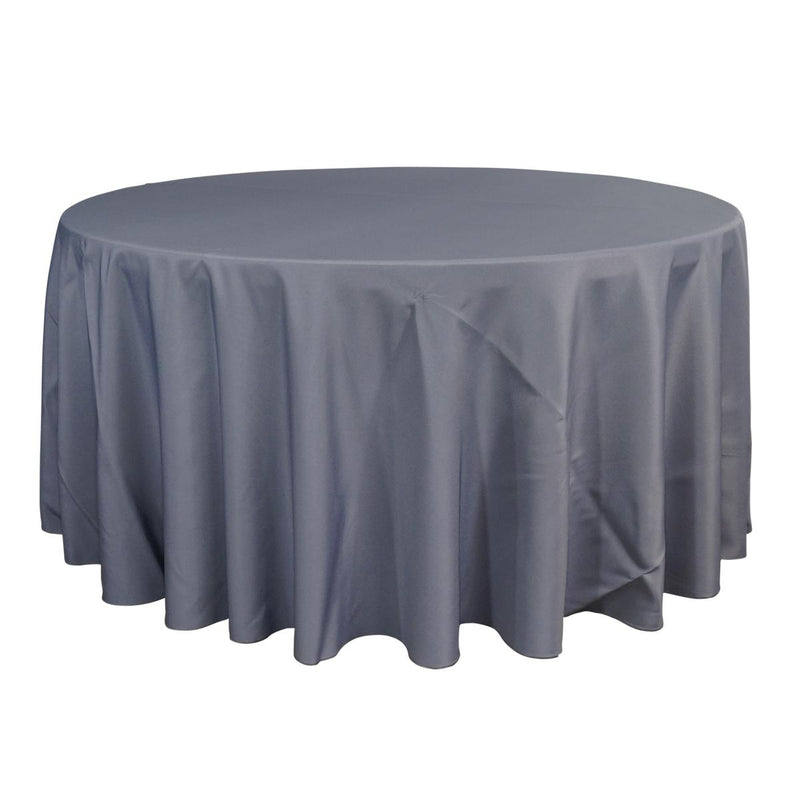 "Economy Polyester Poplin 132"" Round Tablecloth - Grey"