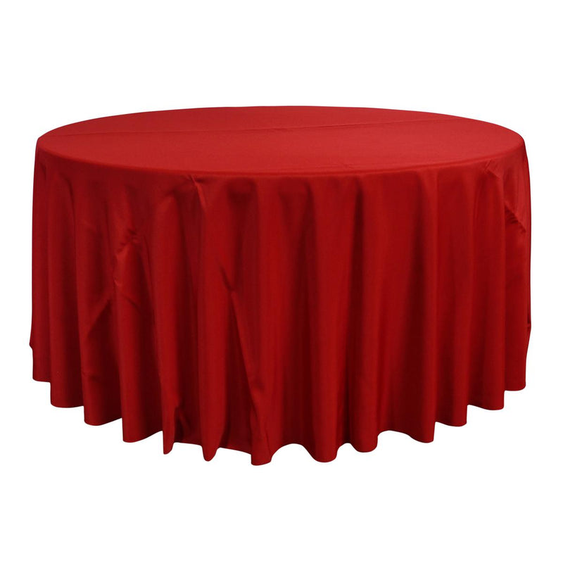 "Economy Polyester Poplin 120"" Round Tablecloth - Red"