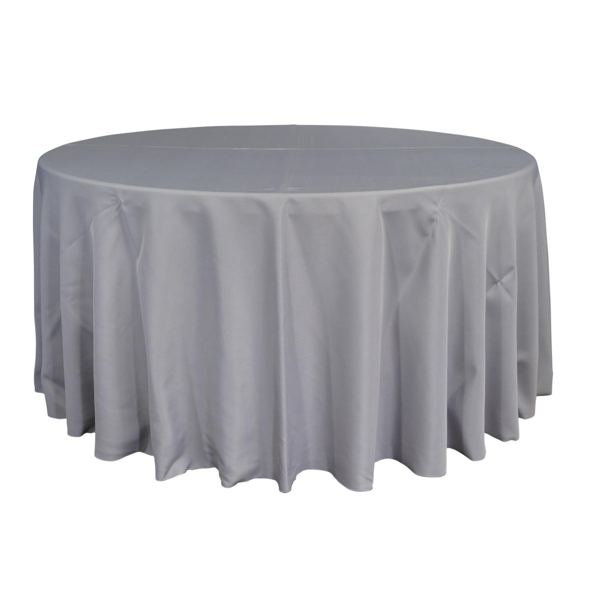 "Economy Polyester Poplin 120"" Round Tablecloth - Silver"