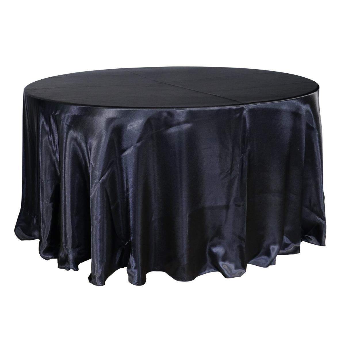 "Economy Shiny Satin 132"" Round Tablecloth - Black"