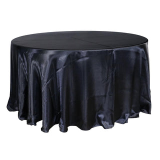 "Economy Shiny Satin 120"" Round Tablecloth - Black"