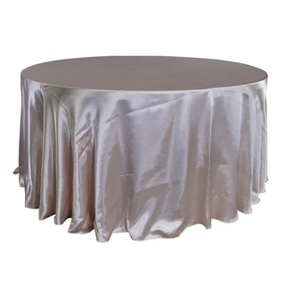 "Economy Shiny Satin 132"" Round Tablecloth - Blush"