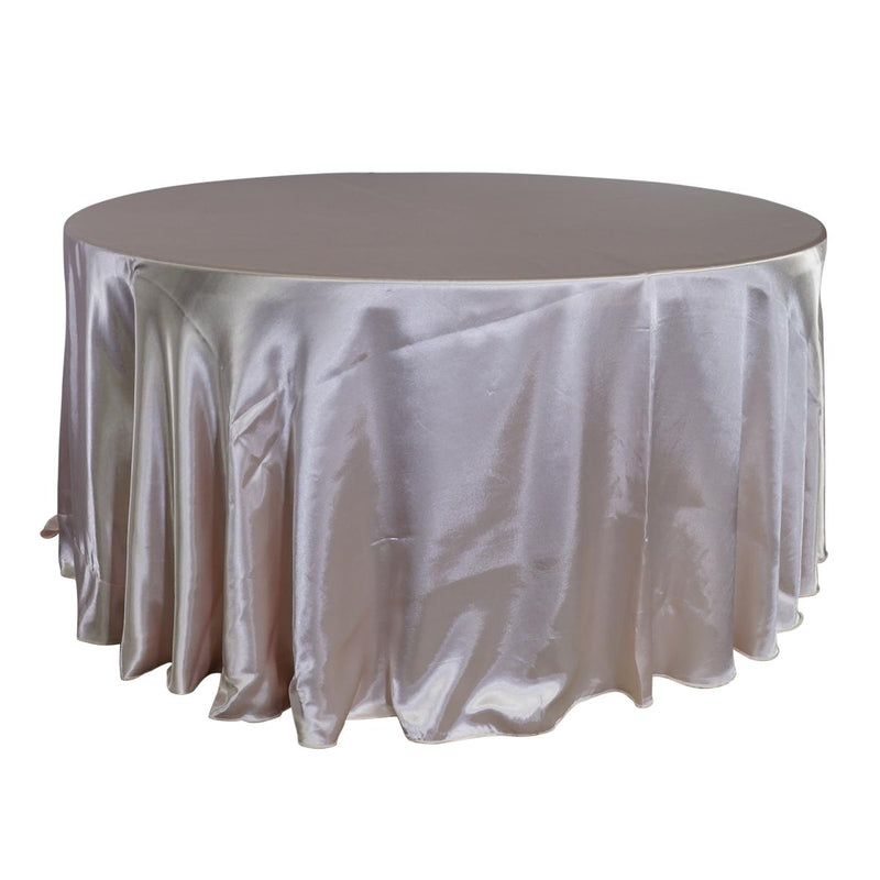 "Economy Shiny Satin 120"" Round Tablecloth - Blush"
