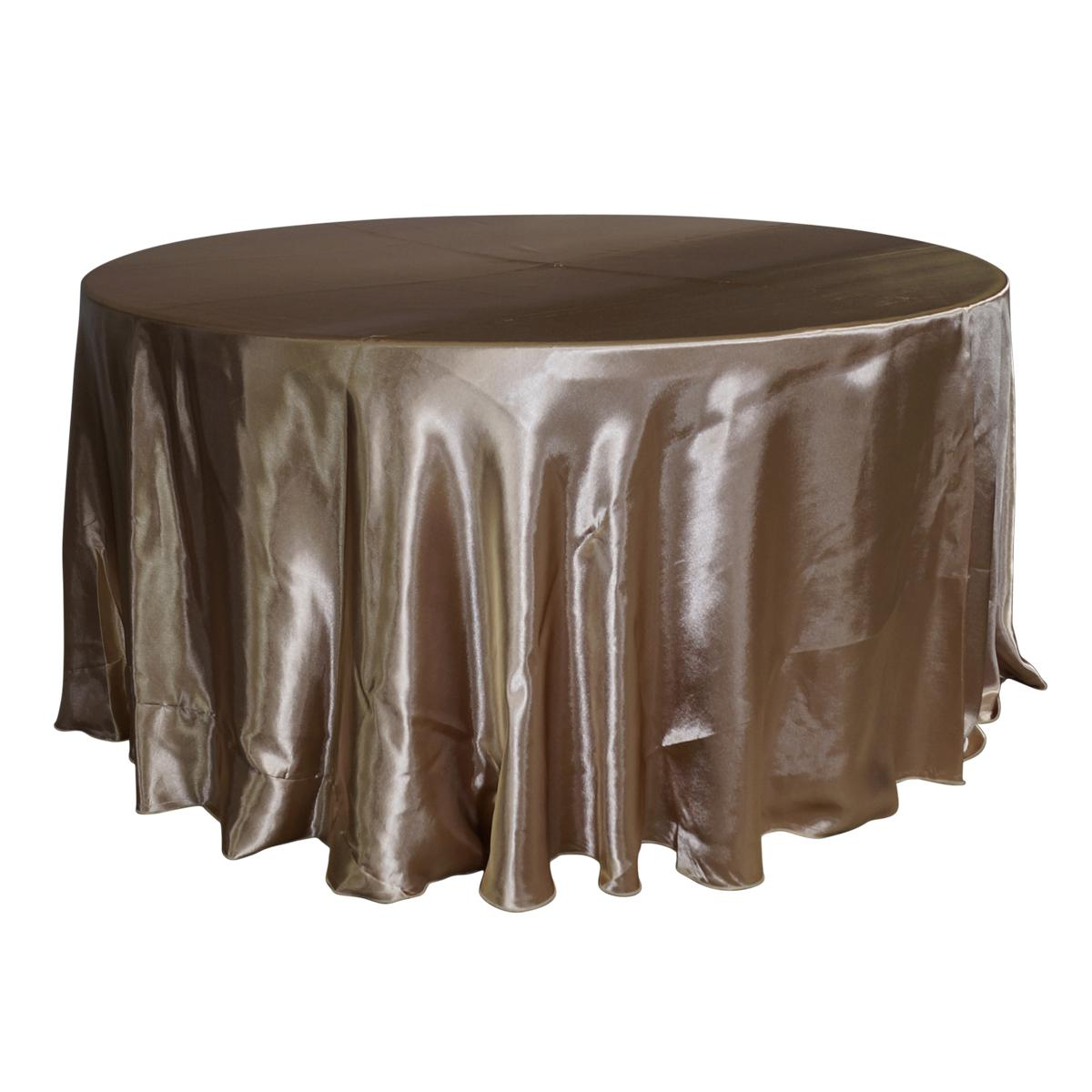 "Economy Shiny Satin 132"" Round Tablecloth - Champagne"