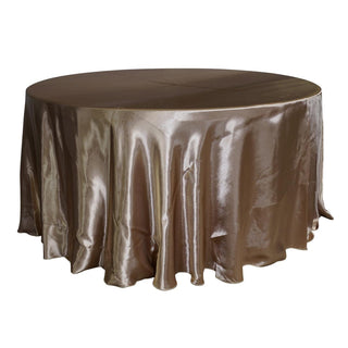 "Economy Shiny Satin 120"" Round Tablecloth - Champagne"
