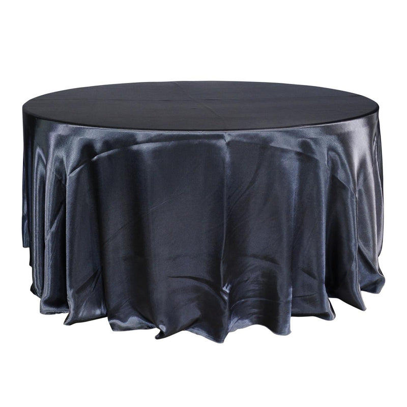 "Economy Shiny Satin 120"" Round Tablecloth - Charcoal"