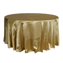 "Economy Shiny Satin 120"" Round Tablecloth - Gold"