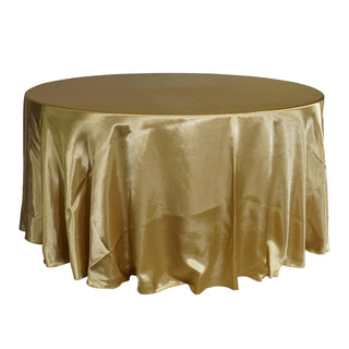 "Economy Shiny Satin 132"" Round Tablecloth - Gold"