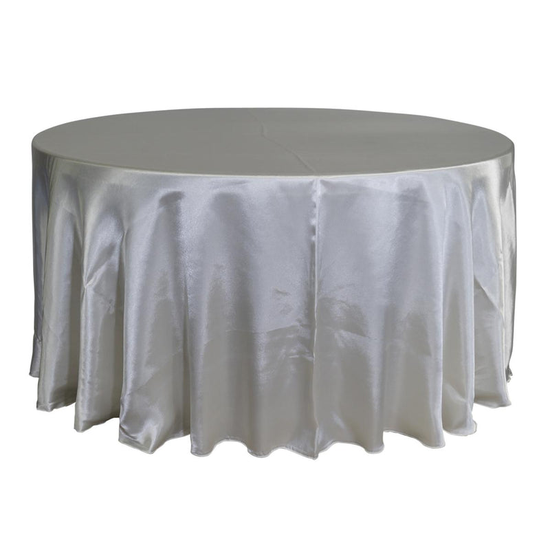 "Economy Shiny Satin 132"" Round Tablecloth - Ivory"