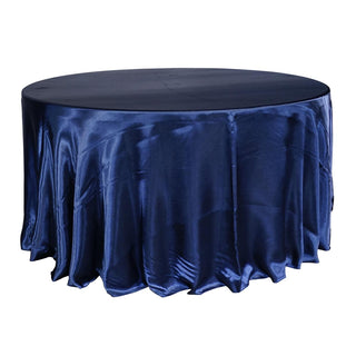 "Economy Shiny Satin 132"" Round Tablecloth - Navy"