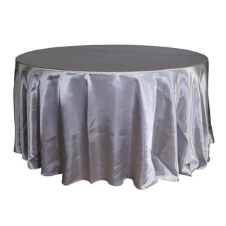 "Economy Shiny Satin 132"" Round Tablecloth - Silver"
