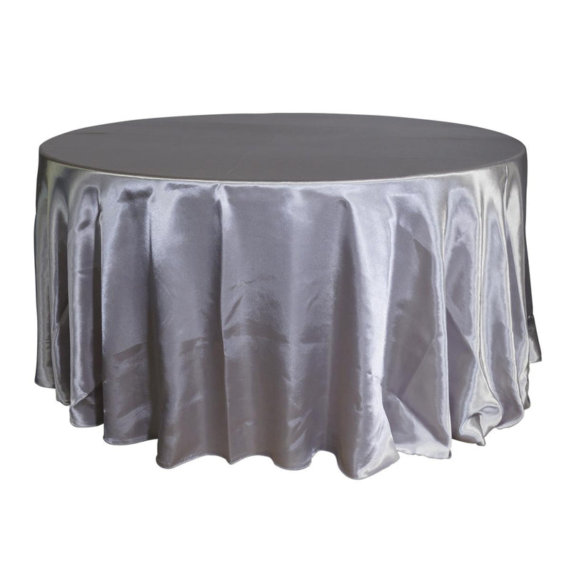 "Economy Shiny Satin 120"" Round Tablecloth - Silver"