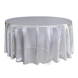 "Economy Shiny Satin 132"" Round Tablecloth - White"