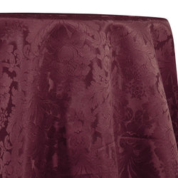 Damask Poly Table Linen in Raisin 1356