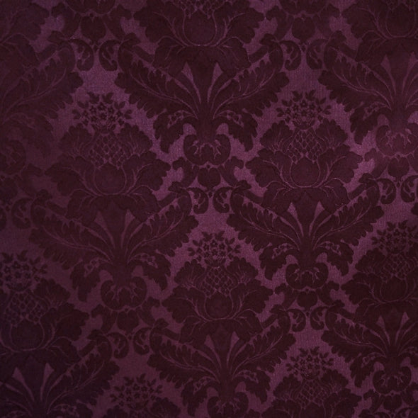 Damask Poly Table Runner in Raisin 1356