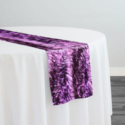 Austrian Wave Satin Table Runner in Raisin