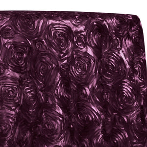 Rose Satin (3D) Table Linen in Raisin