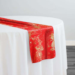 Cascade Jacquard Table Runner in Red and Gold
