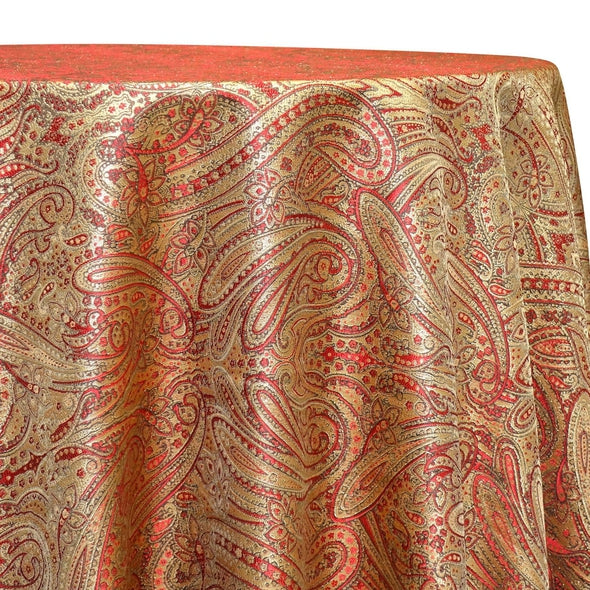 Paisley Jacquard Table Linen in Red and Gold