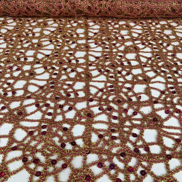 Flower Chain Lace Wholesale Fabric in Red and Gold