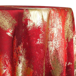 Element Jacquard Table Linen in Red and Gold
