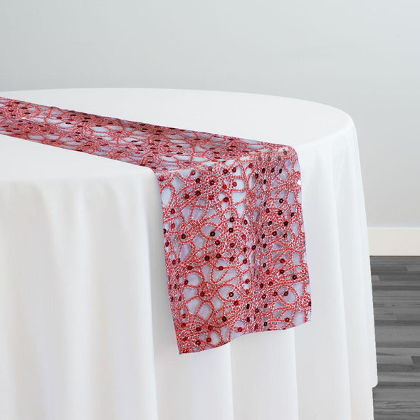 Flower Chain Lace Table Runner in Red and Silver