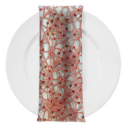Flower Chain Lace (w/ Poly Lining) Table Napkin in Red and Silver