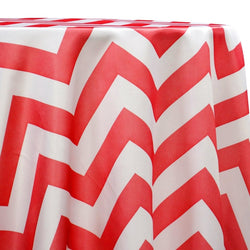 Chevron Print (Lamour) Table Linen in Red and White