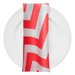 Chevron Print Table Napkin in Red and White