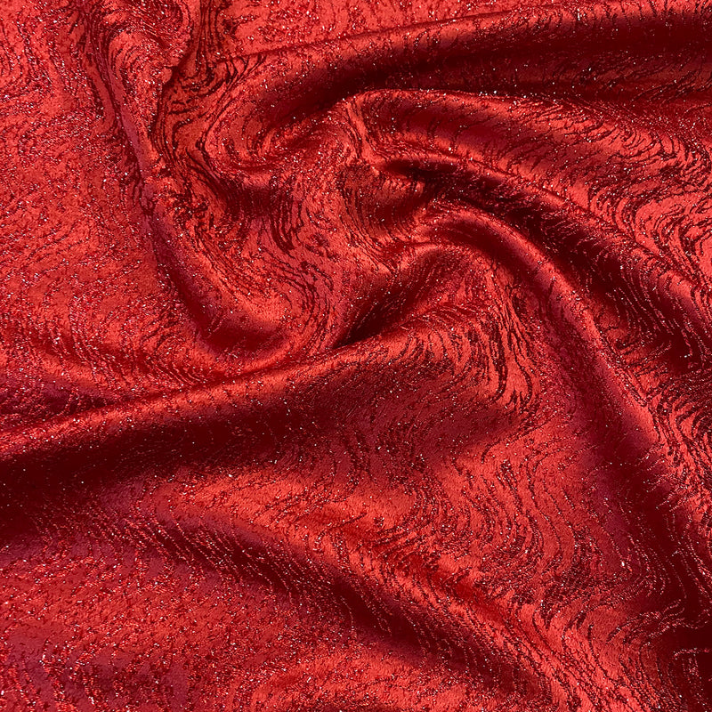 Twinkle Tensil Hair Wholesale Fabric in Red