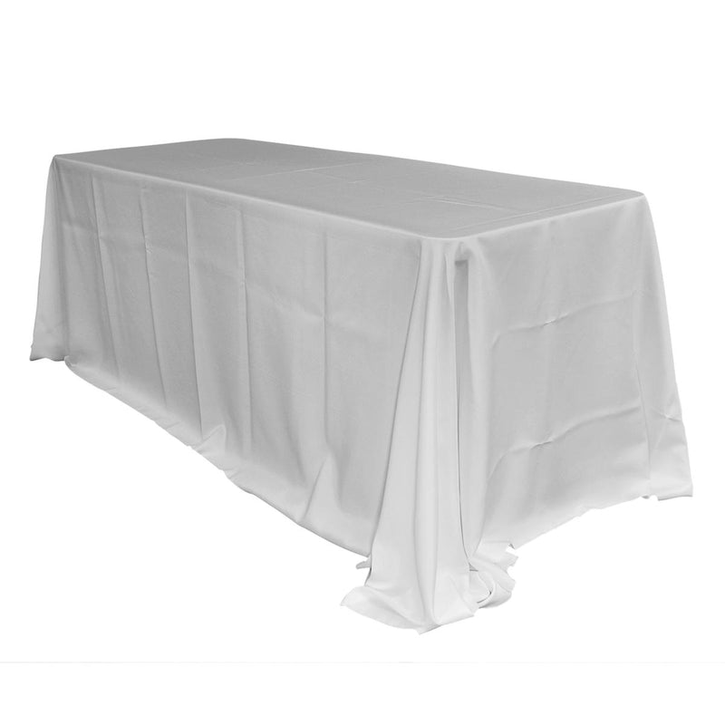 Economy Polyester Poplin Rectangular Tablecloths - White