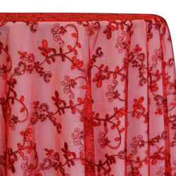 Basil Leaf Embroidery Table Linen in Red