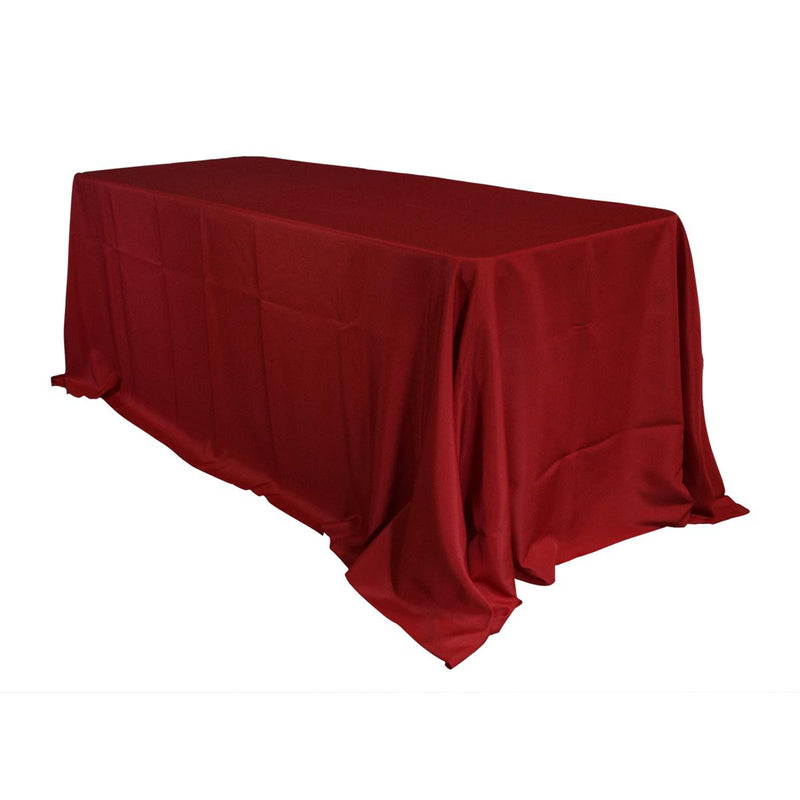 "Economy Polyester Poplin 90""x156"" Rectangular Tablecloth - Red"