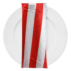 "2"" Satin Stripe Table Napkin in White and Red"