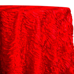 Austrian Wave Satin Table Linen in Red