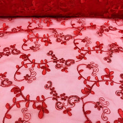 Basil Leaf Embroidery Table Runner in Red