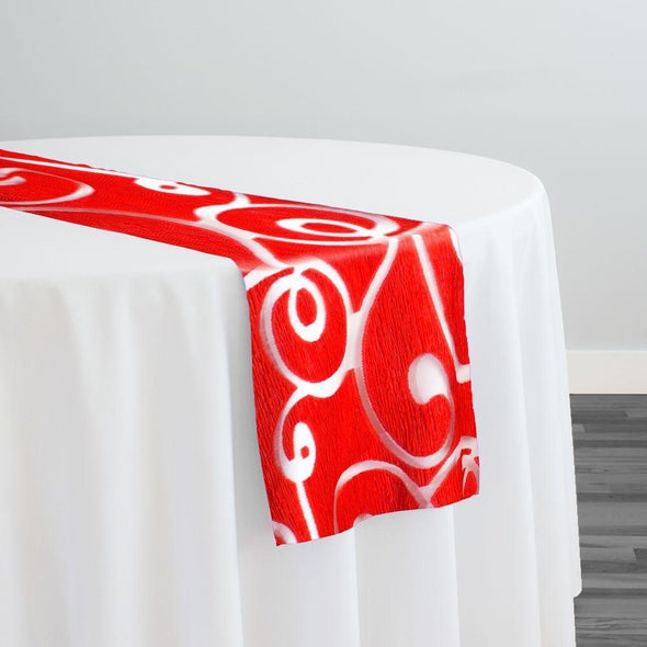 Contempo Scroll Sheer Table Runner in Red