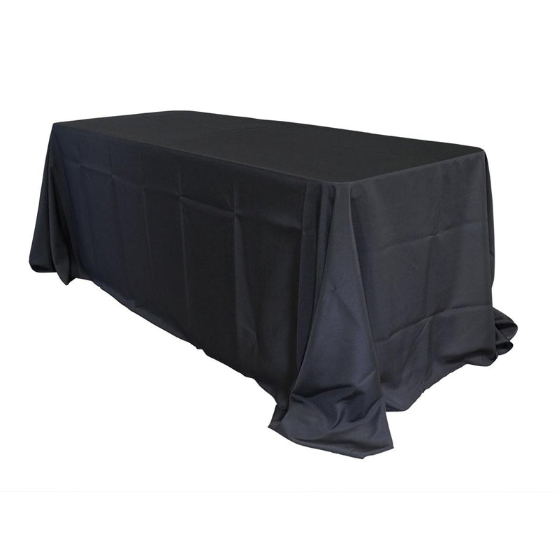"Economy Polyester Poplin 90""x132"" Rectangular Tablecloth - Black"