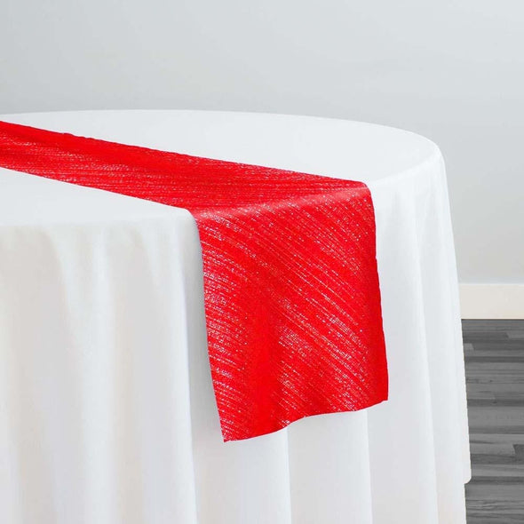 Metallic Burlap (100% Polyester) Table Runner in Red