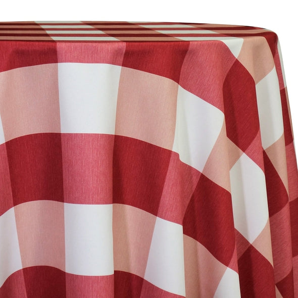 Hampton Checker (Poly Print) Table Linen in Red