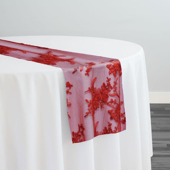 Laylani Lace Table Runner in Red